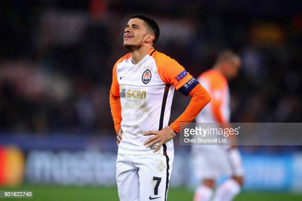 Taison of Shakhtar Donetsk looks dejected during the UEFA Champions League Round of 16 Second Leg match between AS Roma and Shakhtar Donetsk at...