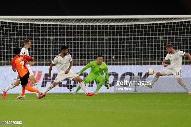 Taison of Shakhtar Donetsk scores his sides second goal during the UEFA Europa League Quarter Final between Shakhtar Donetsk and FC Basel at...