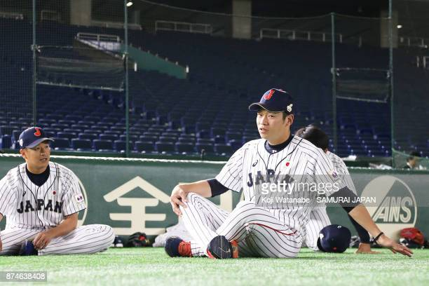 Taisuke Kondo of Japan in action during the Eneos Asia Professional Baseball Championship Official Training Press Conference at Tokyo Dome on...