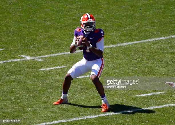 Taisun Phommachanh of the Clemson Tigers drops back to pass during the second half of the Clemson Orange and White Spring Game at Memorial Stadium on...