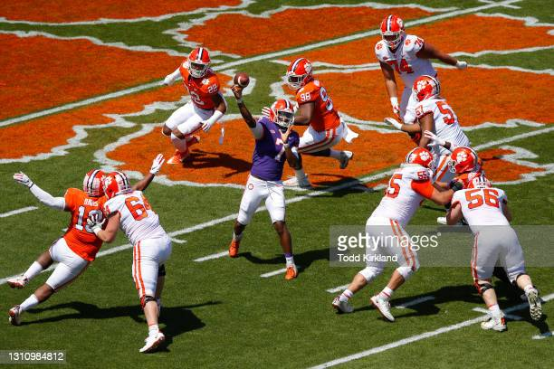 Taisun Phommachanh of the Clemson Tigers passes during the Clemson Orange and White Spring Game at Memorial Stadium on April 3, 2021 in Clemson,...