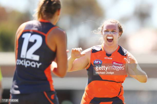 Tait Mackrill of GWS celebrates a goal during the AFLW Rd 4 match between Collingwood and GWS at Morwekk Recreation Reserve on February 24 2019 in...