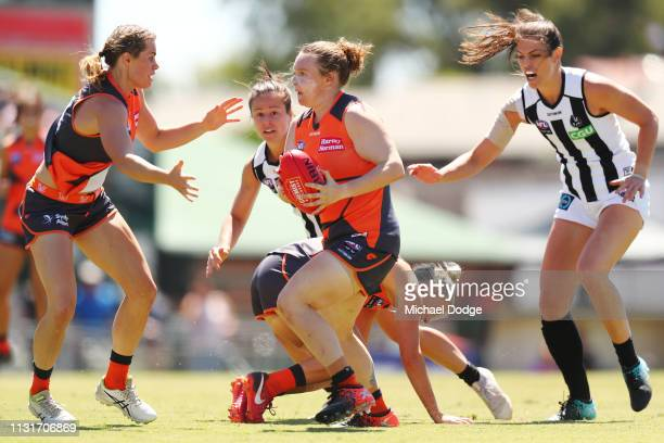 Tait Mackrill of GWS runs with the ball during the AFLW Rd 4 match between Collingwood and GWS at Morwekk Recreation Reserve on February 24 2019 in...