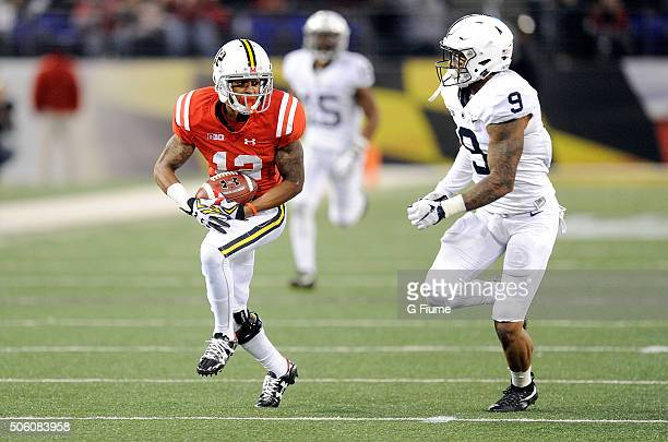 Taivon Jacobs of the Maryland Terrapins runs with the ball against the Penn State Nittany Lions at MT Bank Stadium on October 24 2015 in Baltimore...