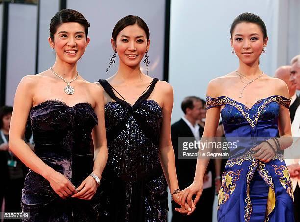 Taiwan actress Charlie Yeung Korean actress Kim So Yeon and Chinese actress Zhang Jingchu arrive at the Opening Gala and Seven Swords Premiere at the...