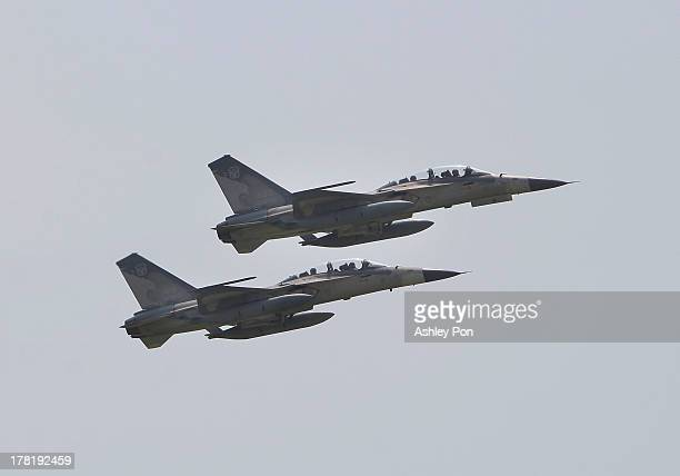 Taiwan Air Force IDF Fighter Jets fly over the drill area during a military drill in Tainan Air Force Base on August 27 2013 in Tainan Taiwan This...