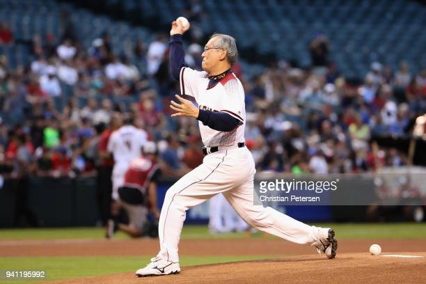 Taiwan Ambassador Stanley Kao throws out the first pitch before the MLB game between the Arizona Diamondbacks and the Los Angeles Dodgers at Chase...
