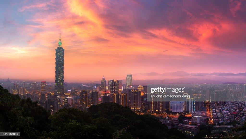 Taiwan city day to night : Stock Photo