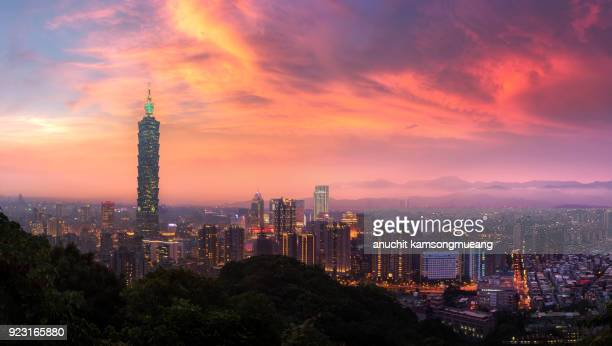 taiwan city day to night - taipei stock pictures, royalty-free photos & images