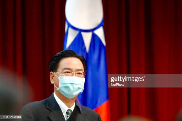 Taiwan Foreign Minister Mr Joseph Wu attends a ceremony awarding prizes to enterprises and experts who had great contributions in diplomatic medical...