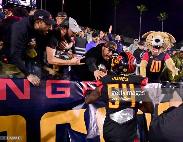 Taiwan Jones of the LA Wildcats celebrates with fans while playing Tampa Bay Vipers at Dignity Health Sports Park during an XFL game on March 8 2020...