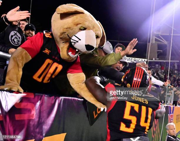 Taiwan Jones of the LA Wildcatsinteracts with fans after the LA Wildcats scored touchdown against the Tampa Bay Vipers at Dignity Health Sports Park...
