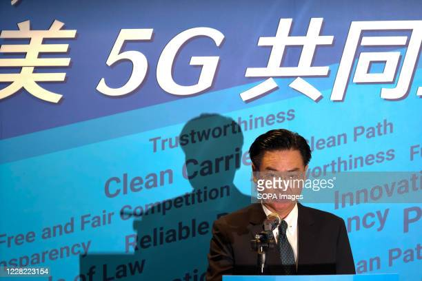 Taiwan minister of foreign affairs Joseph Wu seen during a press conference for the AIT-TECRO Announcement of a Joint Declaration on 5G Security. The...