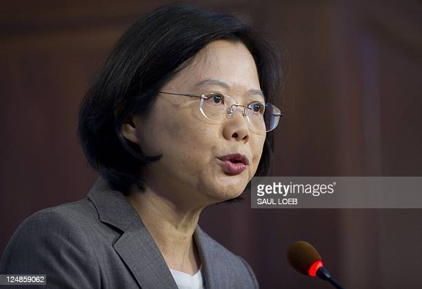 Taiwan opposition presidential candidate Dr Tsai Ingwen chairwoman of the proindependence Democratic Progressive Party speaks at the American...