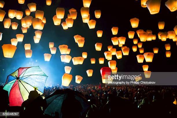 taiwan, pingxi lantern festival - lantern festival stock pictures, royalty-free photos & images