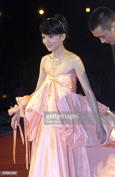 Taiwan pop singer Angela Chang poses for photo during the arrival of the 16th Golden Melody Award in Kaohsiung southern Taiwan 28 May 2005 Over 80...