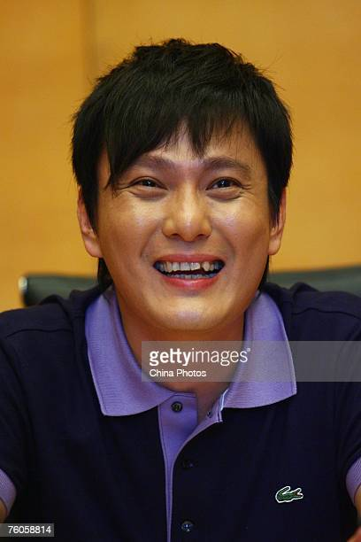 Taiwan pop singer Jeff Chang attends an activity to promote the reality show Absolute Singing Loudly a popular TV singing contest on August 11 2007...