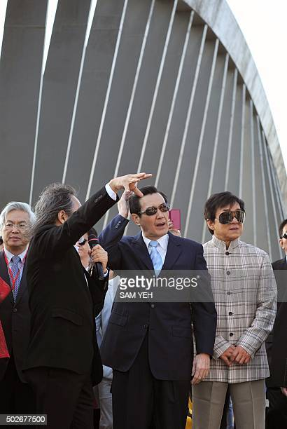 Taiwan President Ma Yingjeou and Hong Kong film star Jackie Chan take part in the opening ceremonies for the National Palace Museum branch in the...