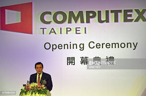 Taiwan President Ma Yingjeou speaks during the opening ceremony of the Computex trade show in Taipei on June 2 2015 President Ma warned of damage to...