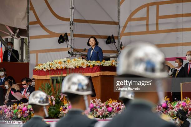 Taiwan president Tsai Ing wen speaking on the stage in front of the Taiwan presidential palace while commemorating the 110 birthday of the nation...