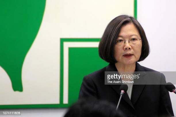 Taiwan President Tsai IngWen addresses prior to her resignation as the president of the ruling Democratic Progressive Party after the DPP's defeat in...