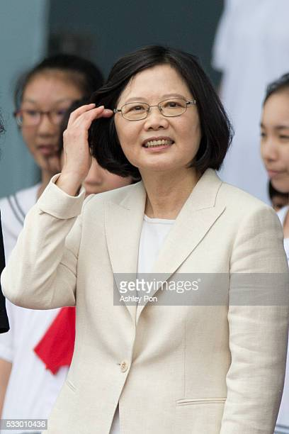 Taiwan President Tsai Ing-wen pulls her hair at the celebration of the 14th presidential inauguration on May 20, 2016 in Taipei, Taiwan. Taiwan's new...
