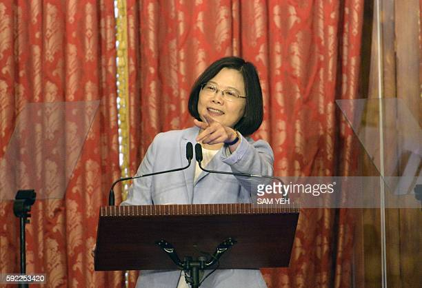 Taiwan President, Tsai Ing-wen speaks during a press conference at the Taipei Guest House on August 20, 2016. Tsai, who was inaugurated on May 20 as...
