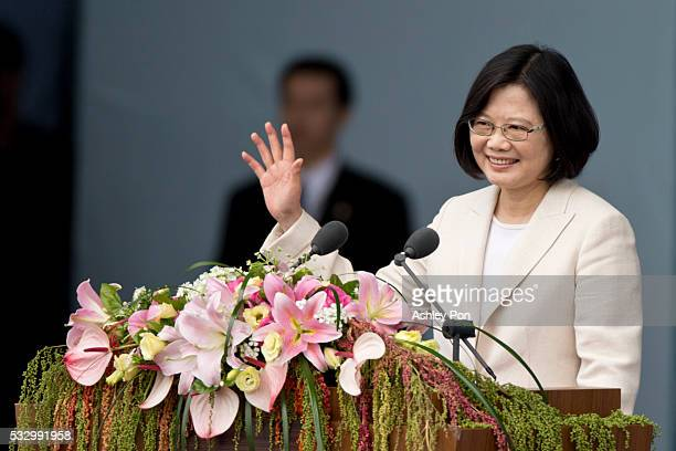 Taiwan President Tsai Ing-wen waves to the crowd on May 20, 2016 in Taipei, Taiwan. Taiwan's new president Tsai Ing-wen took oath of office on May 20...