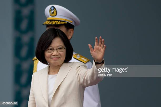 Taiwan President Tsai Ing-wen waves to the supporters at the celebration of the 14th presidential inauguration on May 20, 2016 in Taipei, Taiwan....