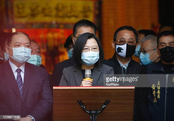 Taiwan President Tsai Ing-wen wearing a face mask attends a worship ceremony for ''Qingshan King'', a god of a local religion, in Taipei, Taiwan, on...