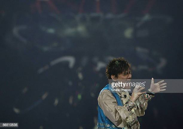 Taiwan singer Jeff Chang performs during his tour concert on December 31 2005 in Nanjing of Jiangsu Province China