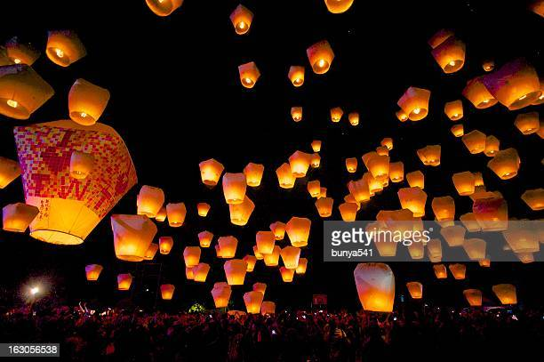 taiwan sky lantern festival - taiwan stock photos and pictures