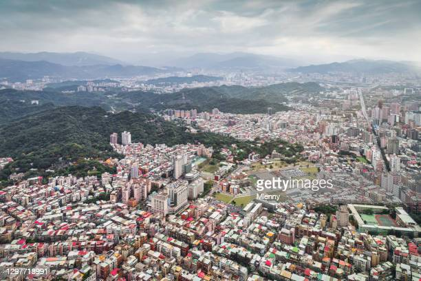 taiwan taipei city view taiwan urban aerial cityscape lookout - mlenny stock pictures, royalty-free photos & images