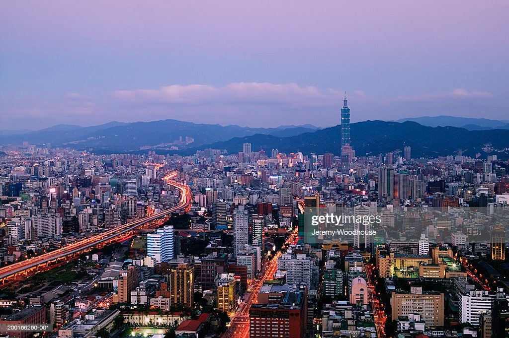 Taiwan, Taipei, cityscape at sunset, elevated view : Stock Photo