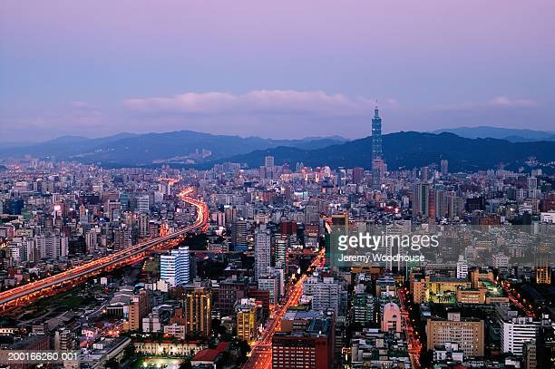 Taiwan, Taipei, cityscape at sunset, elevated view