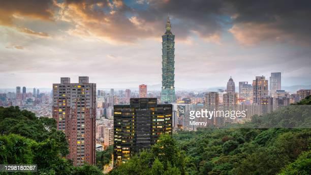 taiwan taipei skyline at night panorama - mlenny stock pictures, royalty-free photos & images