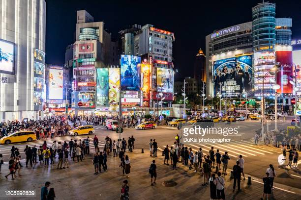 taiwan, taipei, ximending at night - taiwan stock pictures, royalty-free photos & images