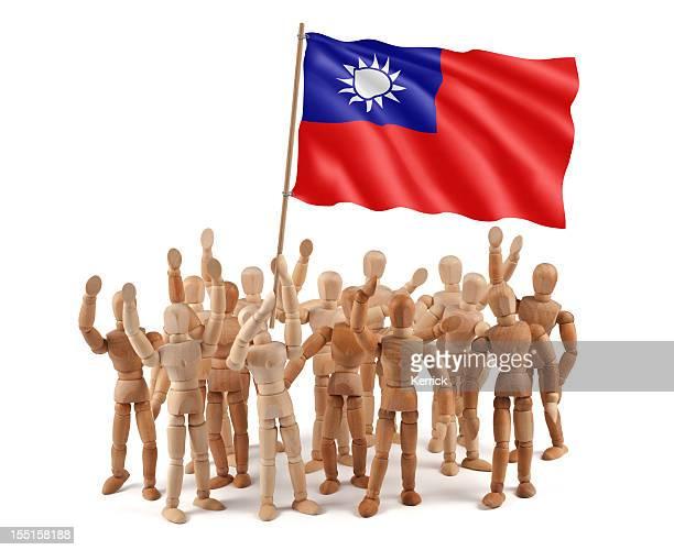Taiwan-s mannequin grupo de madera con la bandera