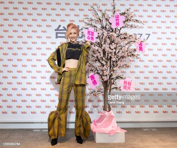 Taiwanese actor and singer Amber An poses at the press conference to promote her new album Brave to love at Hit Fm on July 10 2020 in Taipei Taiwan