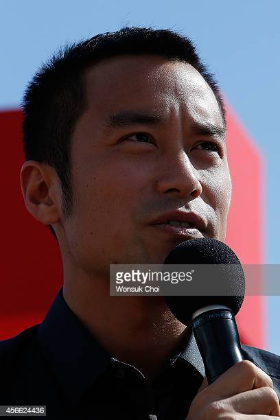 Taiwanese actor Hsiao Chuan Chang speaks during the press conference 'Special Encounter of Chinese and Japanese Filmmakers' featured actors from the...