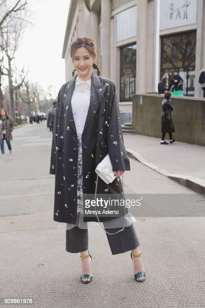 Taiwanese actress Amber An seen at the Miu Miu fashion show during Paris Fashion Week Womenswear Fall/Winter 2018/2019 on March 6 2018 in Paris France