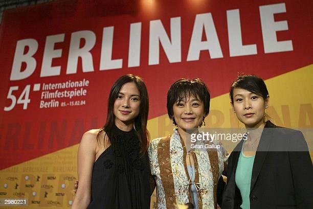 Taiwanese actress Rene Liu, Taiwanese actress and director Sylvia Chang and Malaysian actress Lee Sinje attend the news conference to the Hong...