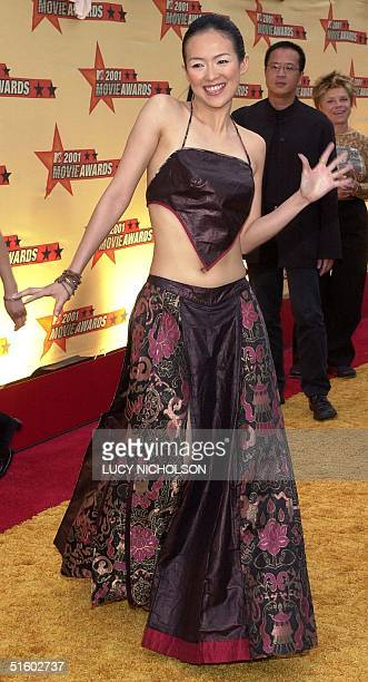Taiwanese actress Zhang Zihi arrives at the 2001 MTV Movie Awards at the Shrine Auditorium in Los Angeles 02 June 2001 Zhang Zihi won an award for...
