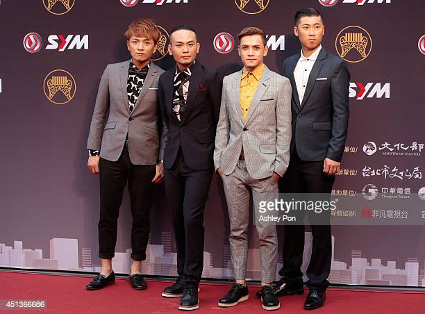 Taiwanese band Fire EX arrive at the 25th Golden Melody Awards on June 28 2014 in Taipei Taiwan Fire EX is nominated for Best Band at the 25th Golden...