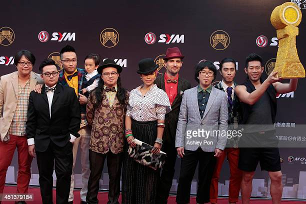 Taiwanese band Funky Brothers arrive at the 25th Golden Melody Awards on June 28 2014 in Taipei Taiwan