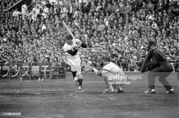 Taiwanese baseball player and manager in Japan, Sadaharu Oh batting for the Yomiuri Giants at Korakuen Stadium, circa 1964 in Tokyo, Japan.