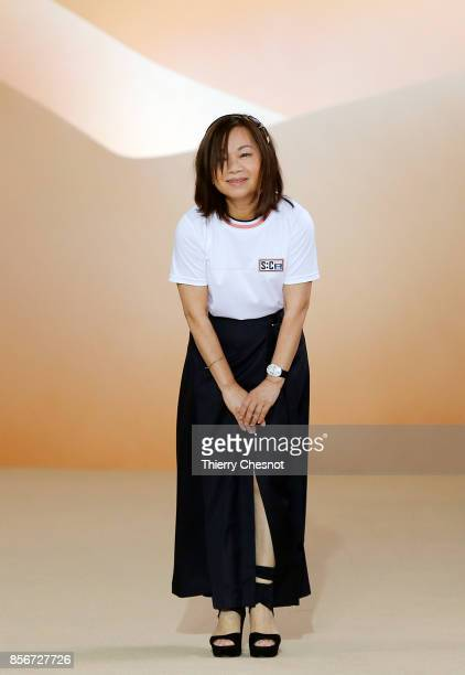Taiwanese fashion designer Shiatzy Chen acknowledges the audience at the end of the Shiatzy Chen Paris show as part of the Paris Fashion Week...