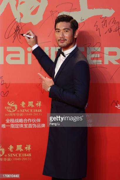 Taiwanese model and actor Godfrey Gao arrives at the opening ceremony of the 16th Shanghai International Film Festival at Shanghai Culture Square on...