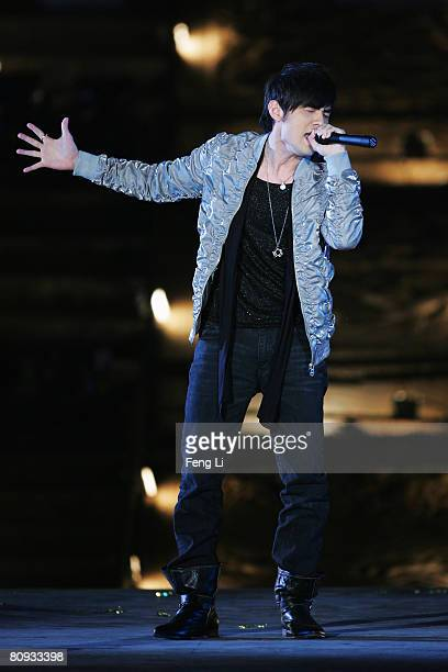 Taiwanese pop singer Jay chou performs during the Award-giving Ceremony for the 4th Olympic Songs Competition at the illuminated Worker People's...