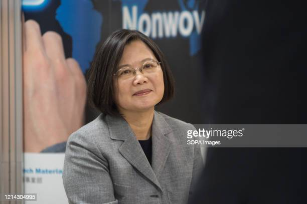 Taiwanese President listening to presentations during the visit. Taiwanese President, Tsai Ing Wen visits a non-woven filter fabric factory. The...
